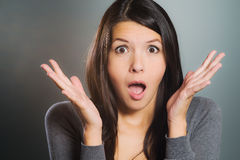 Attractive woman screaming in terror Stock Images