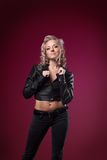 Attractive woman in sexy leather jacket Royalty Free Stock Photos