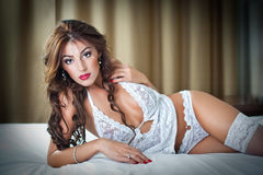 Attractive woman in sexy white lingerie Royalty Free Stock Image