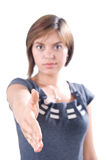 Attractive woman shake hands Stock Images