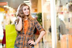 Attractive woman is shopping Stock Photos
