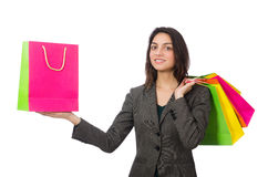 Attractive woman with shopping bags isolated on Stock Photos