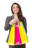 Attractive woman with shopping bags isolated on Stock Photography