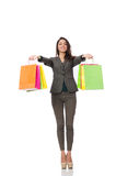 Attractive woman with shopping bags isolated on Royalty Free Stock Photography