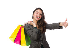 Attractive woman with shopping bags isolated on Royalty Free Stock Photo