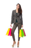 Attractive woman with shopping bags isolated on Royalty Free Stock Image