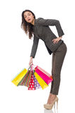 Attractive woman with shopping bags isolated on Royalty Free Stock Photos