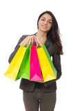 Attractive woman with shopping bags isolated on Stock Photo
