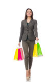 Attractive woman with shopping bags isolated on Stock Image