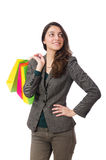 The attractive woman with shopping bags isolated Stock Photos