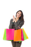The attractive woman with shopping bags isolated Stock Image