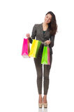 The attractive woman with shopping bags isolated Royalty Free Stock Images