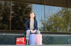 Attractive woman with shopping bags. Shopping. Royalty Free Stock Photo