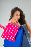 Attractive woman with shopping bags Royalty Free Stock Photos