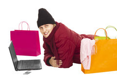 Attractive woman shopping over the internet Stock Photo
