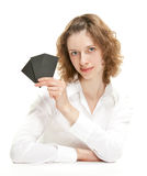 Attractive woman showing blank black cards Stock Photos