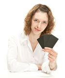 Attractive woman showing blank black cards Royalty Free Stock Photo