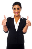 Attractive woman showing double thumbs up Stock Photography