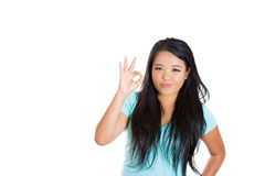 Attractive woman showing OK sign Royalty Free Stock Photos