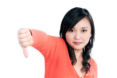 Attractive woman showing thumbs down sign Royalty Free Stock Photography