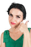 Attractive woman shows Call Me Sign Royalty Free Stock Image