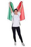 Attractive woman shows flag of italy Stock Photos