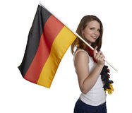 Attractive woman shows german flag Stock Photo