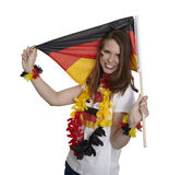 Attractive woman shows german flag Royalty Free Stock Photography
