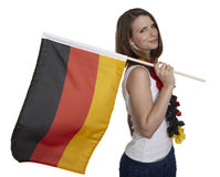 Attractive woman shows german flag Stock Photography