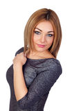 Attractive woman with a silvered dress Royalty Free Stock Images