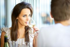 Attractive Woman Sipping Wine Royalty Free Stock Photo