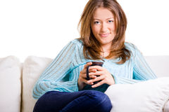 Attractive Woman Sitting With Her Coffee Royalty Free Stock Images