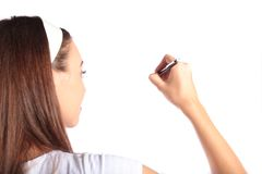 Attractive woman sketching Royalty Free Stock Image