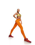 Attractive woman with slim body. stretching Stock Photo