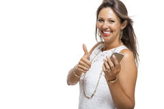 Attractive Woman with smartphone computer isolated Stock Photos