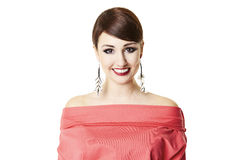 Attractive Woman Smiliing. Portrait of attractive woman in red blouse. Clipping path Royalty Free Stock Photo