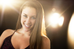 Attractive Woman Smiling In Nightclub Royalty Free Stock Photography