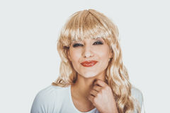 Attractive woman smiling to camera. Royalty Free Stock Image