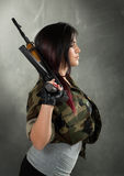 Attractive Woman Soldier Stock Photography