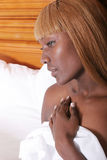 Attractive woman in spa. Attractive African American woman in spa stock image