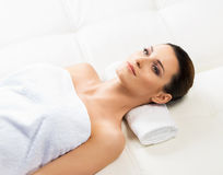 Attractive woman in spa having massage Royalty Free Stock Photo