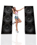 Attractive woman with speaker Royalty Free Stock Image