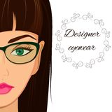 Attractive woman in spectacles. Optician, stylish. Attractive woman in spectacles. Optician consept. Stylish glasses and lenses advertising banner, flyer Stock Image