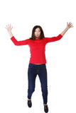 Attractive woman with spread hands up. Royalty Free Stock Photo