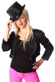 Attractive woman standing in tophat Stock Image