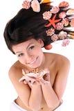 Attractive   woman   and  starfish. Spa. Stock Photo