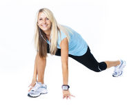 Attractive Woman stretching and exercise Royalty Free Stock Photography