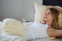 Attractive woman stretching in the morning royalty free stock photos