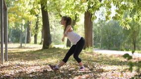 Attractive Woman stretching outdoor stock footage