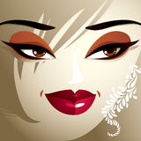 Attractive woman with stylish bright make-up and contemporary ha Royalty Free Stock Photos
